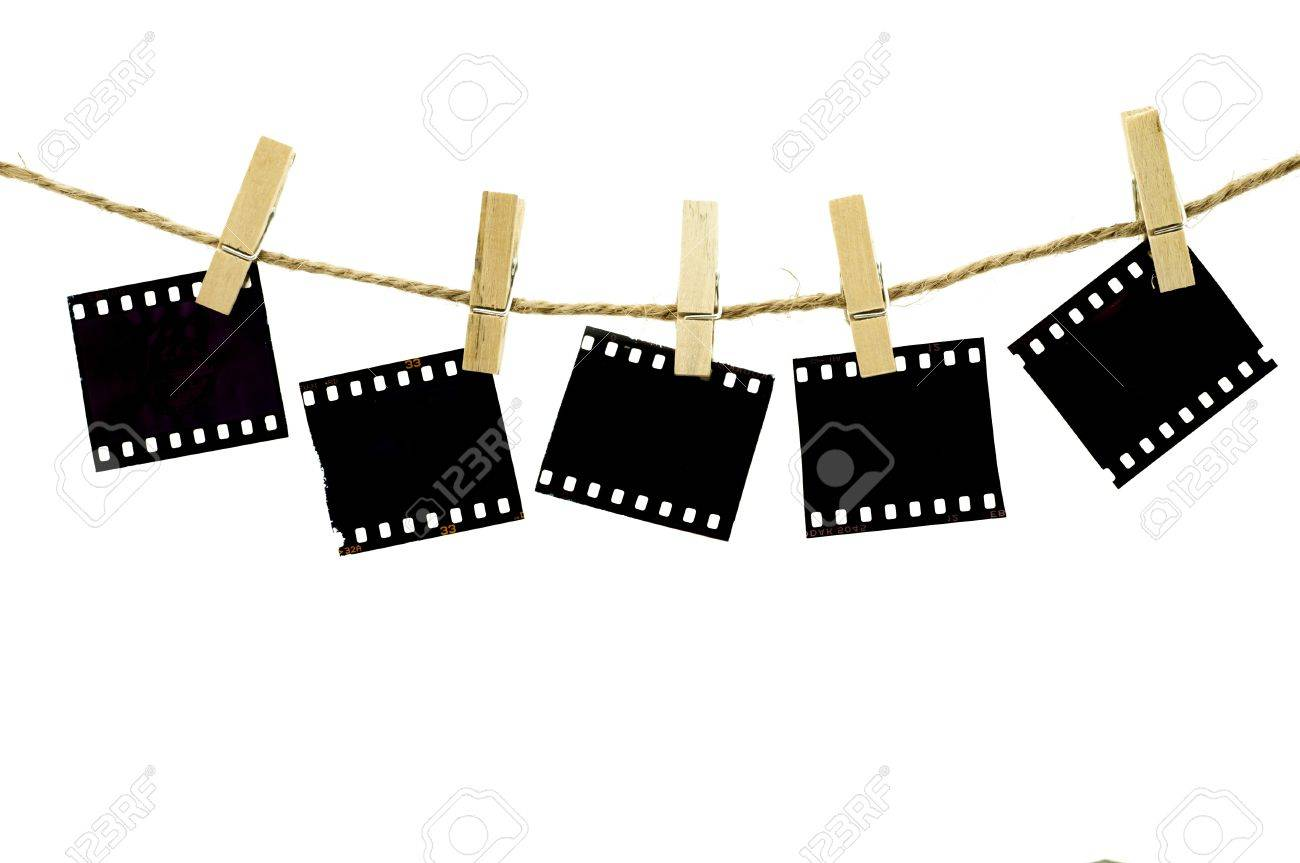 Blank Photo Frames With Hanger On Rope With White Background Stock