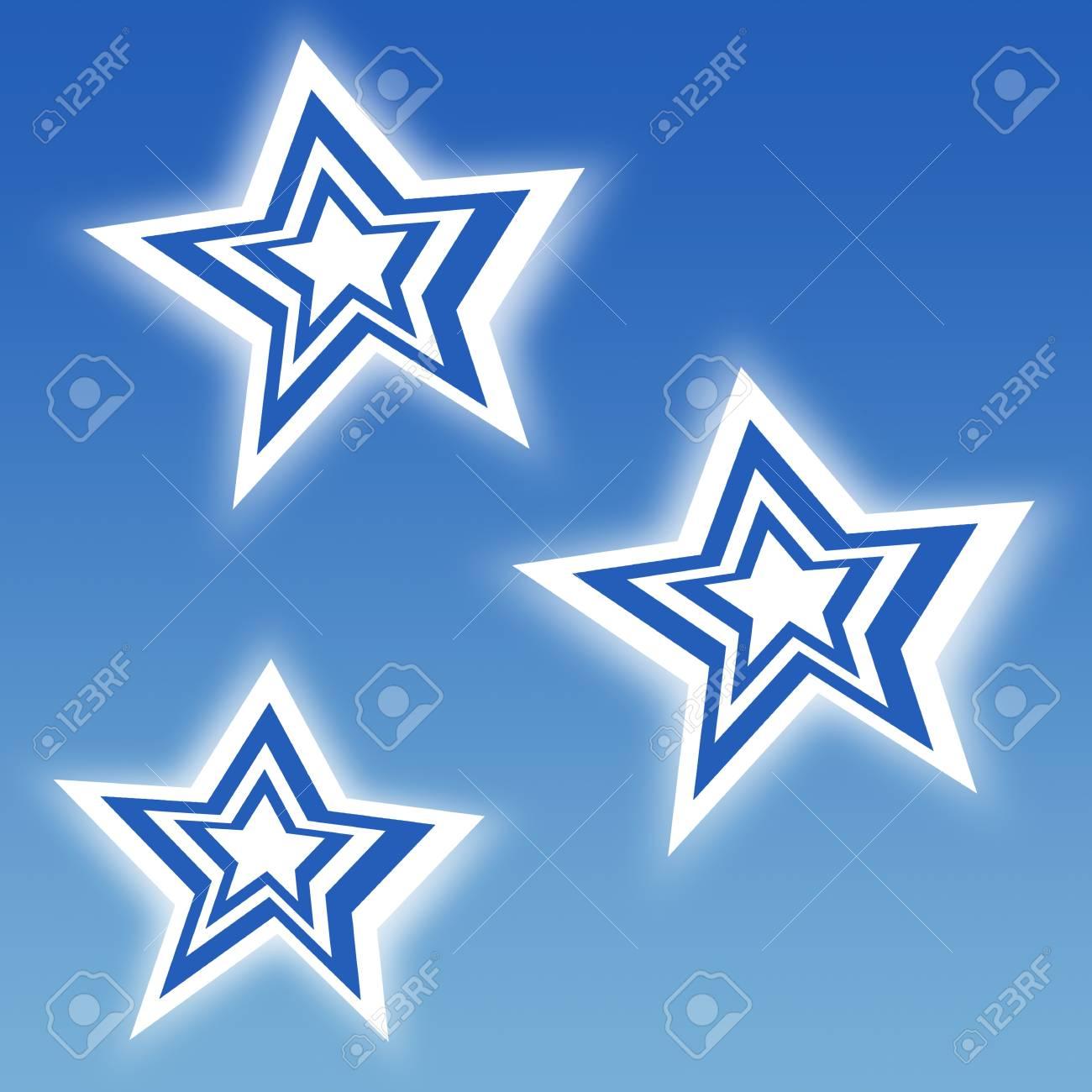 Blue stripe stars on blue sky backgound Stock Photo - 16108113