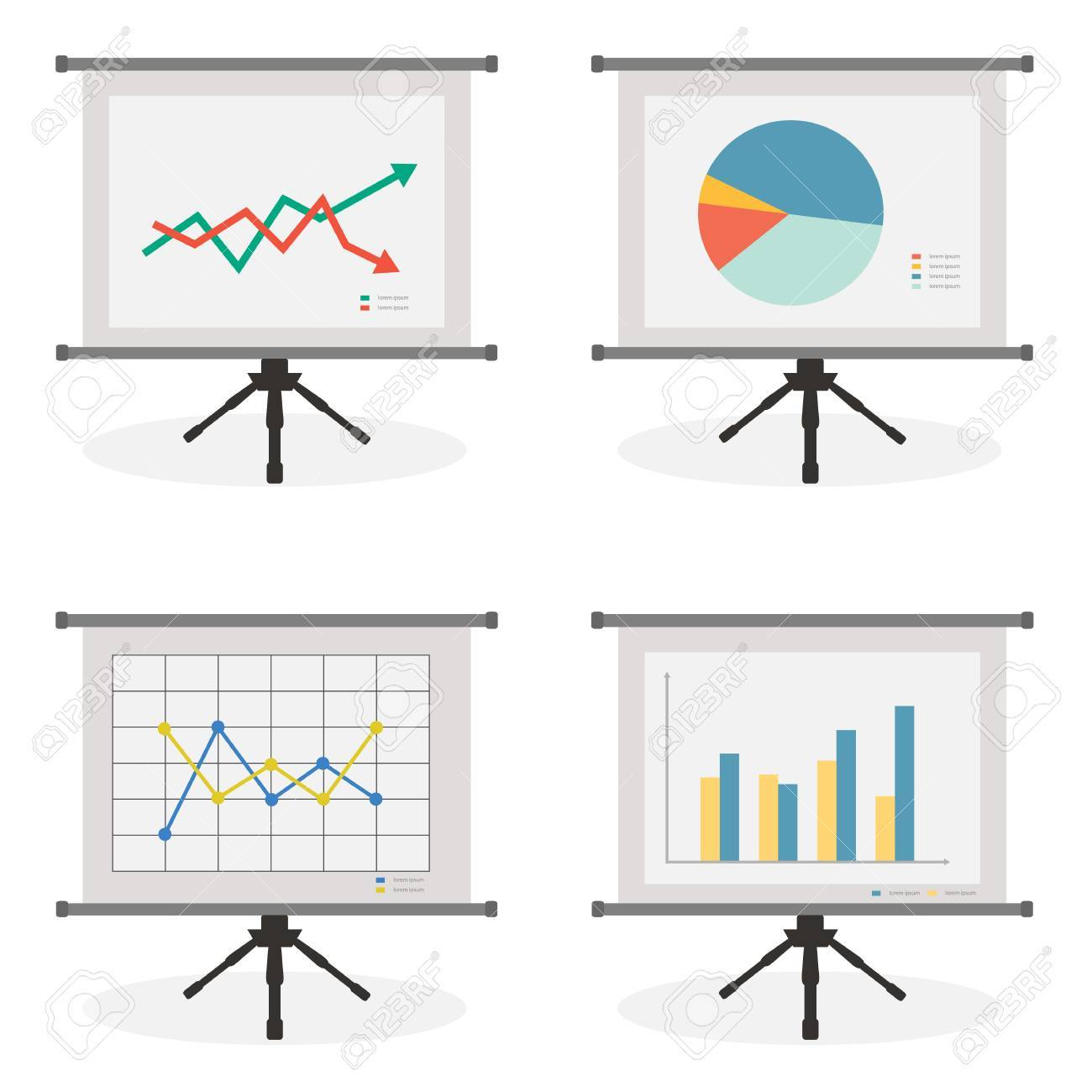 Presentation Screen With Stock, Pie, Line And Bar Chart For ...