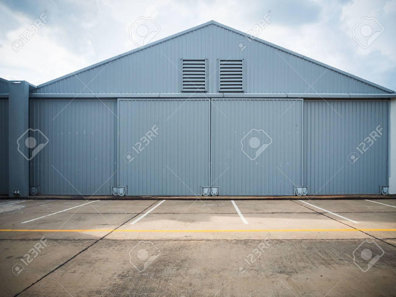 Closed warehouse doors. - 34564465