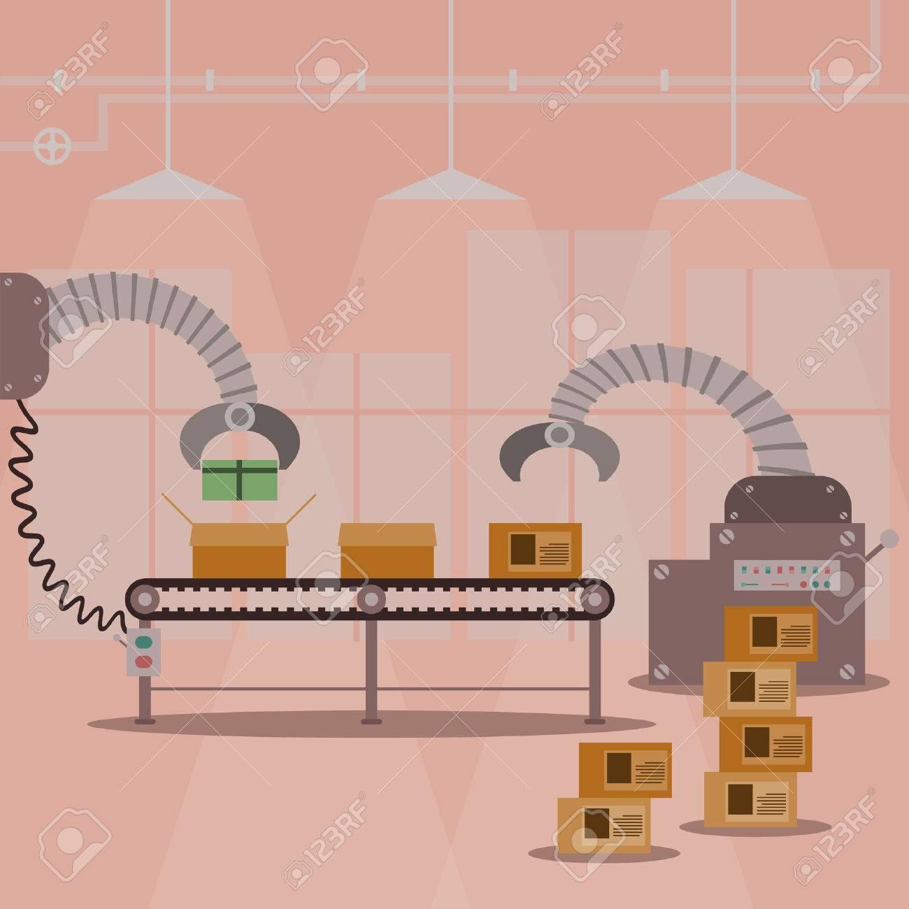 Gift box production factory machine. Vector illustration design. - 35161701