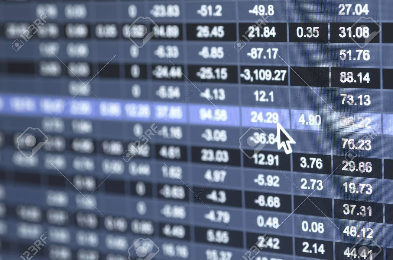 Stock market number on screen display - 43225836