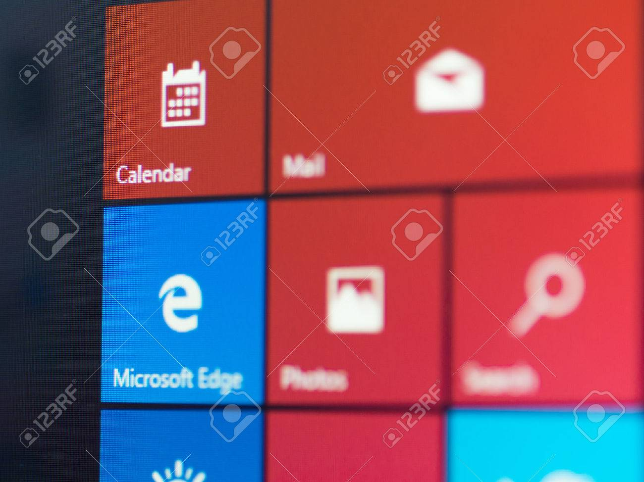 Bangkok, Thailand - August 16, 2015; Menu screen of new Windows 10 focussed on Mirosoft Edge icon. The browser is bundle with new version of Windows. It starting July 29, 2015. - 44823368