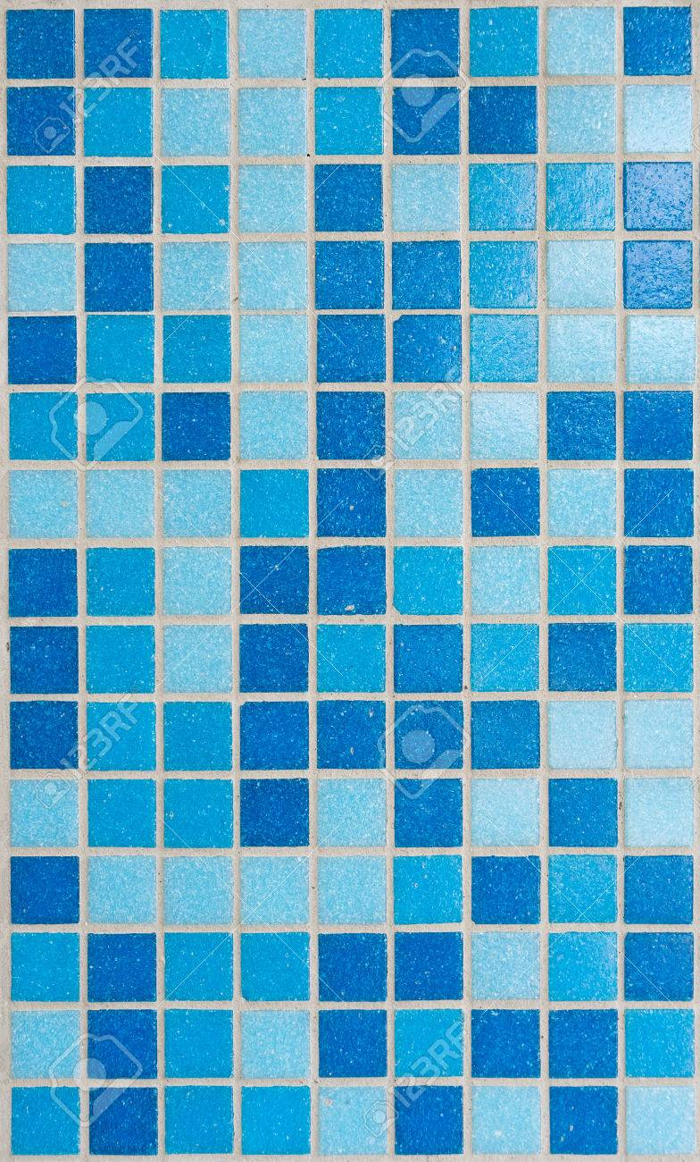 Blue Mosaic Tiles For Bathroom Background. Stock Photo, Picture And ...