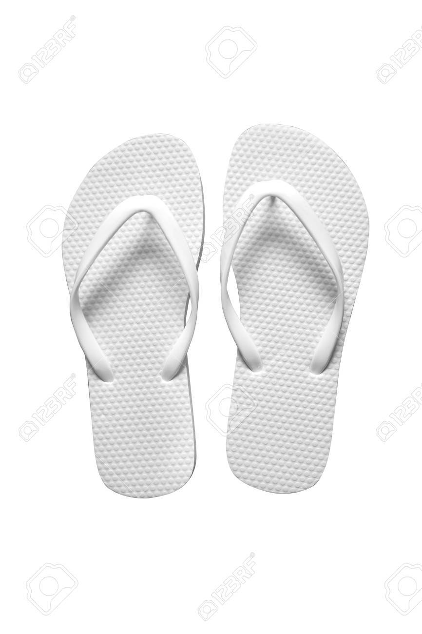 53a0c216926d Stock Photo - White sandal on white background. Flip flop sandal isolated.  Rubber flip flop beach sandal.