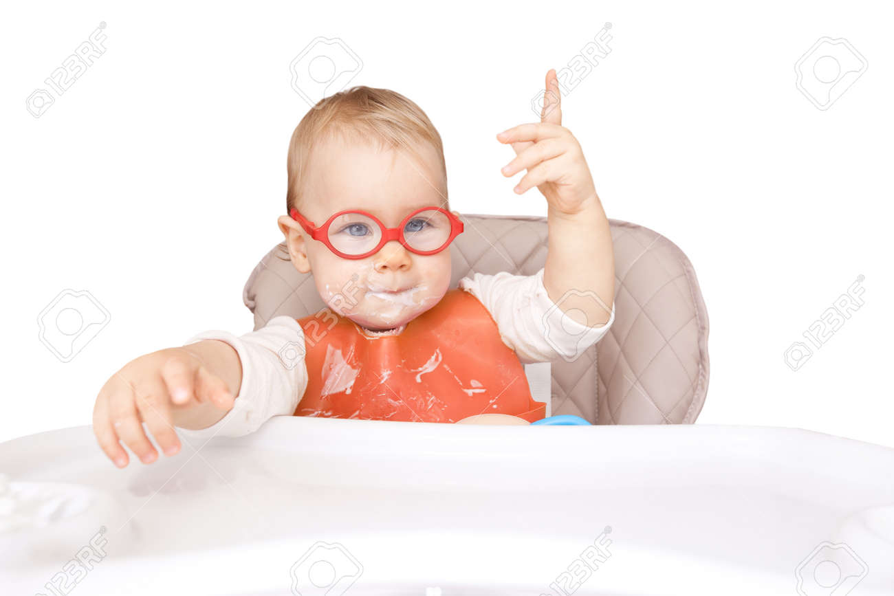 """little kid with glasses. mouth milk. finger the top. """"good idea!"""" isolated on white - 155056651"""