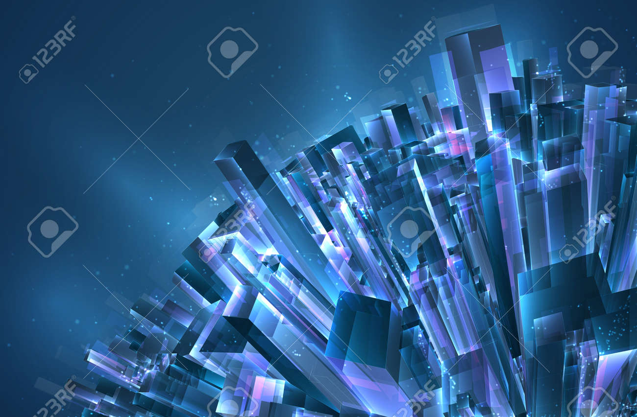 vector abstract 3d crystal. a view of the roofs of the city, a large chaotic set of glass pendants. - 162215432