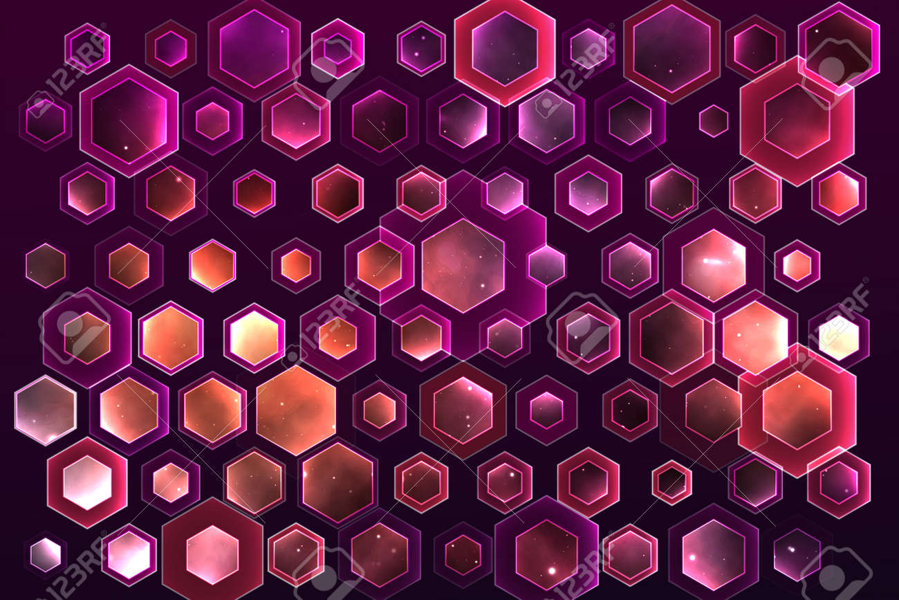 vector space background with hexagons and bright highlights - 172465386