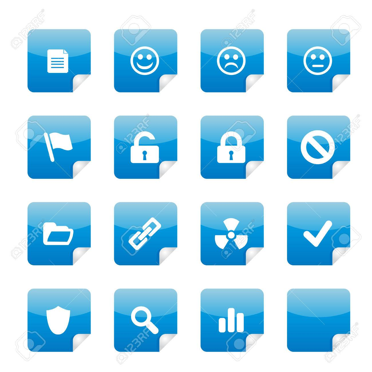 16 nice blue glossy stickers with foldup part 2. See my portfolio for more. Stock Vector - 2799732