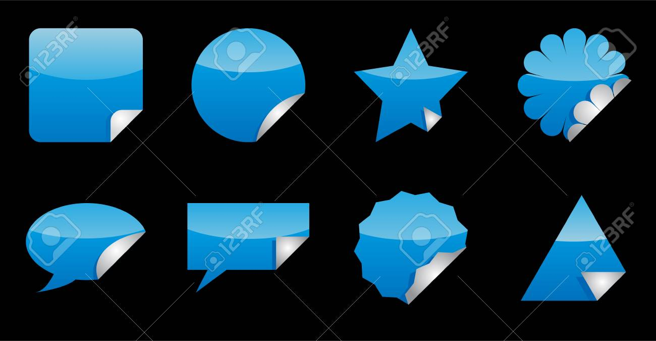 Nice cyan (blue) stickers with foldup. See my portfolio for more. Stock Vector - 2838695