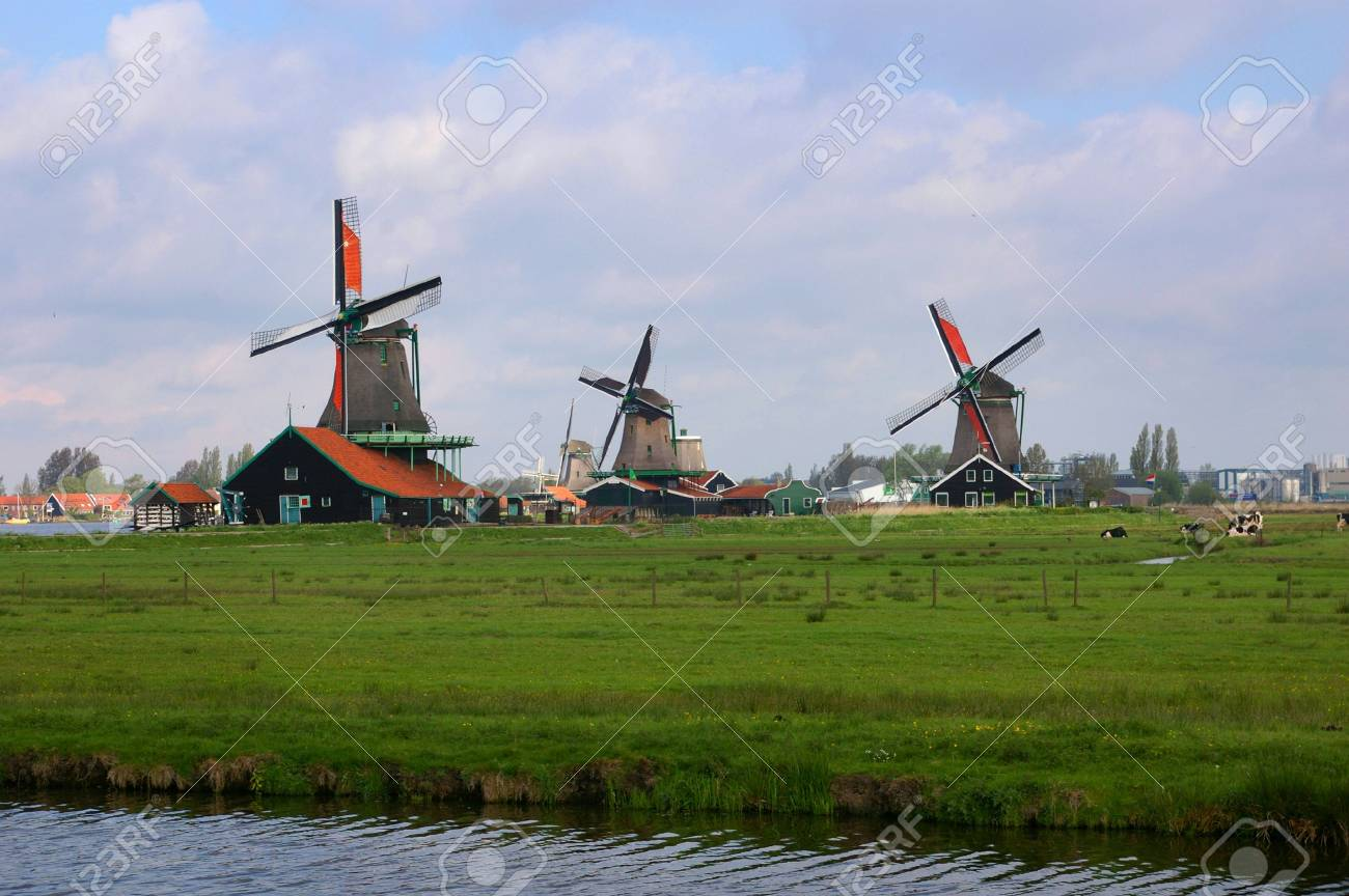 Picture of three dutch windmills with nice green grass in front of them Stock Photo - 3075468