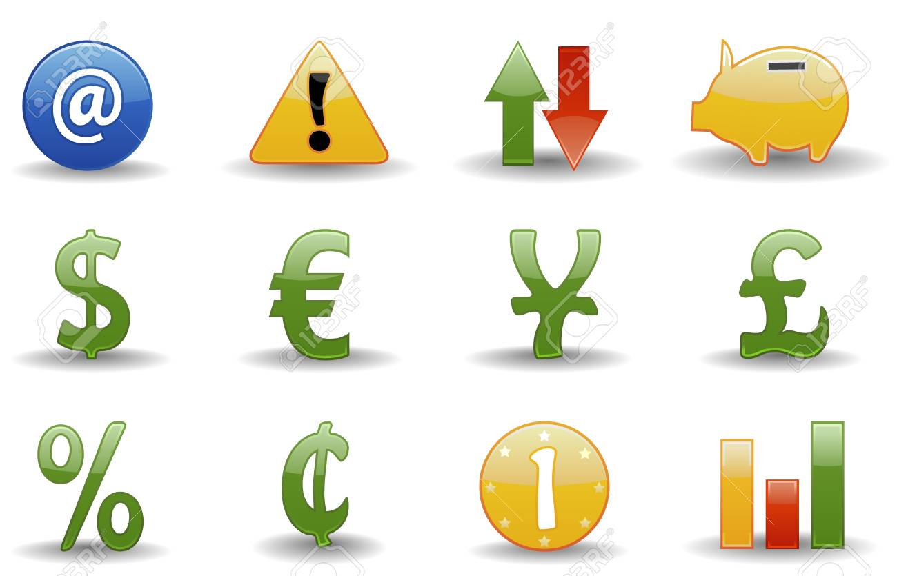 Glossy series part 2:  collection of 12 colorful financial icons. Stock Vector - 3084431