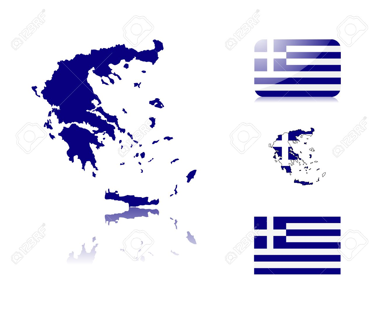 Greek  map including: map with reflection, map in flag colors, glossy and normal flag of Greece. Stock Vector - 6350707