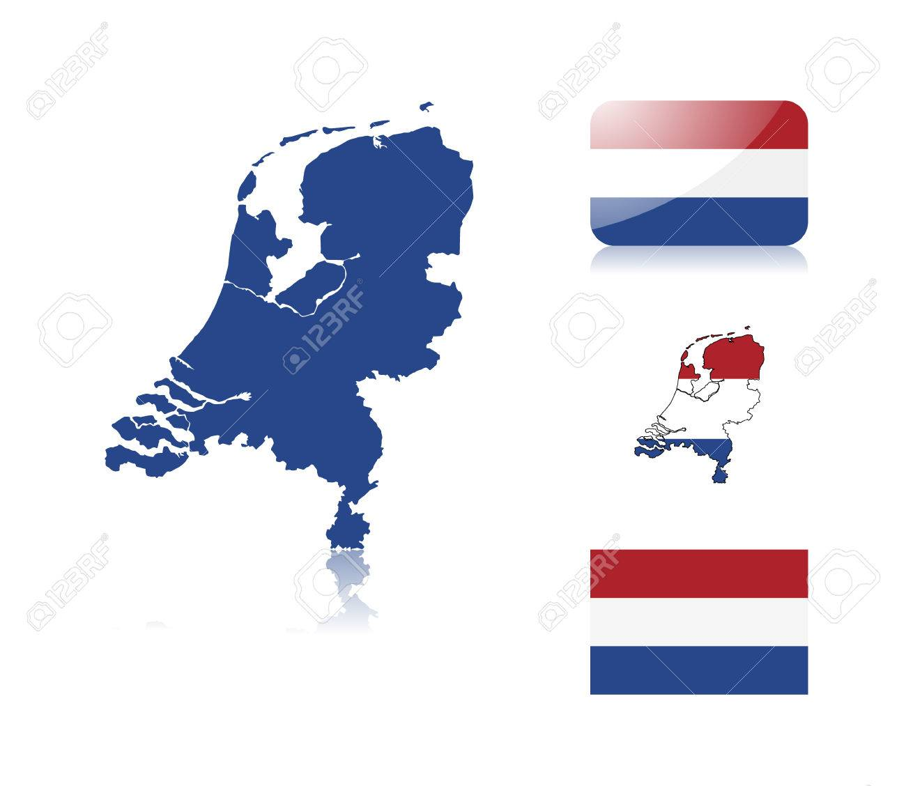 Dutch  map including: map with reflection, map in flag colors, glossy and normal flag of the Netherlands. Stock Vector - 6350721