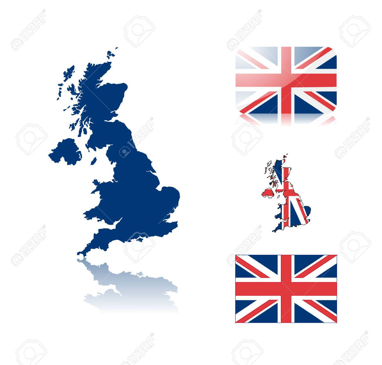 British map including: map with reflection, map in flag colors, glossy and normal flag of United kingdom. Stock Vector - 6350719