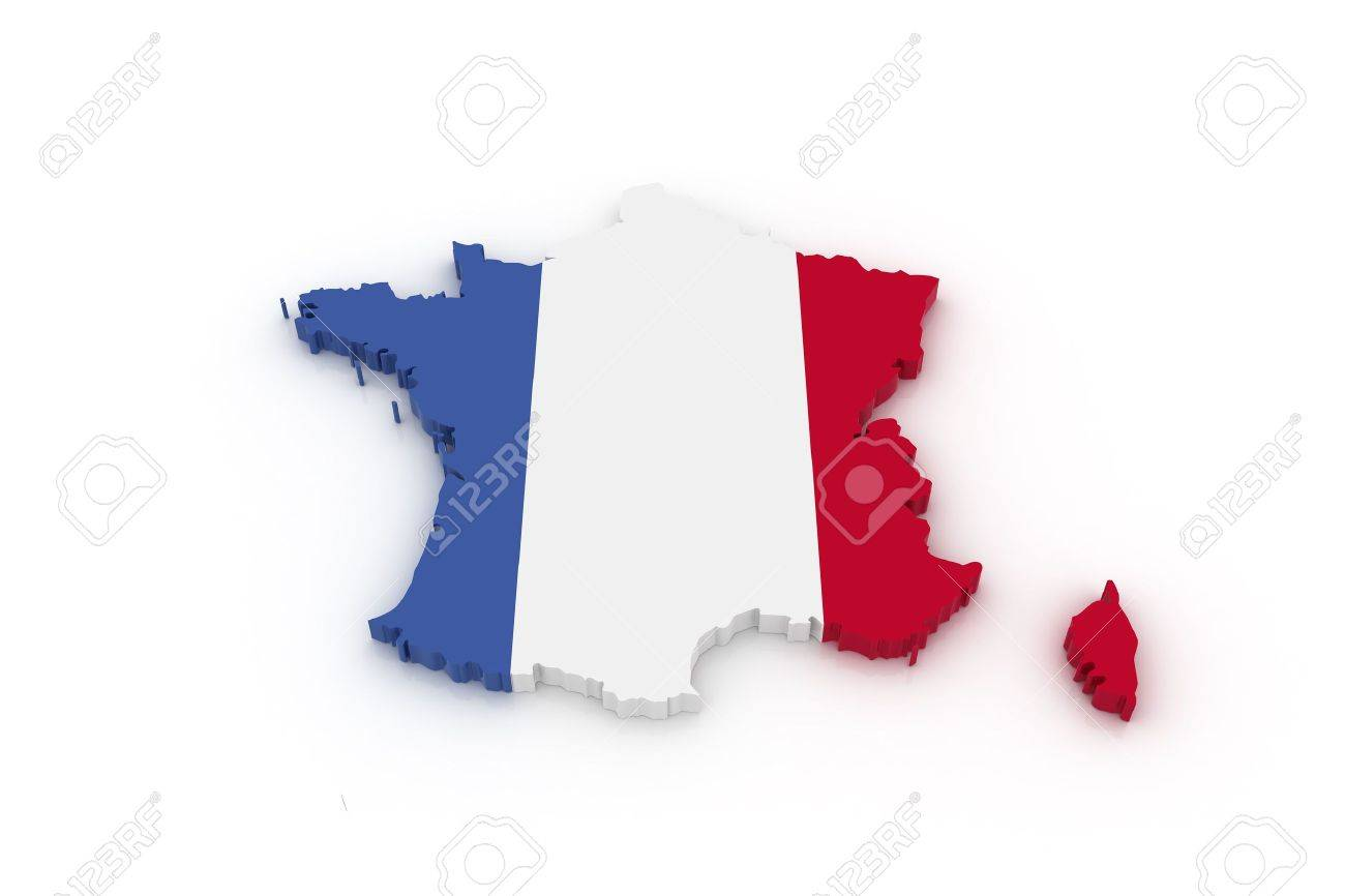 Three dimensional map of France in French flag colors. Standard-Bild - 6391895