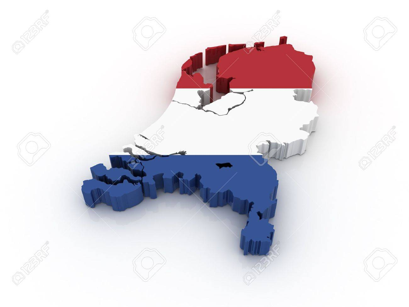 Three dimensional map of the Netherlands in Dutch flag colors. Stock Photo - 6403175