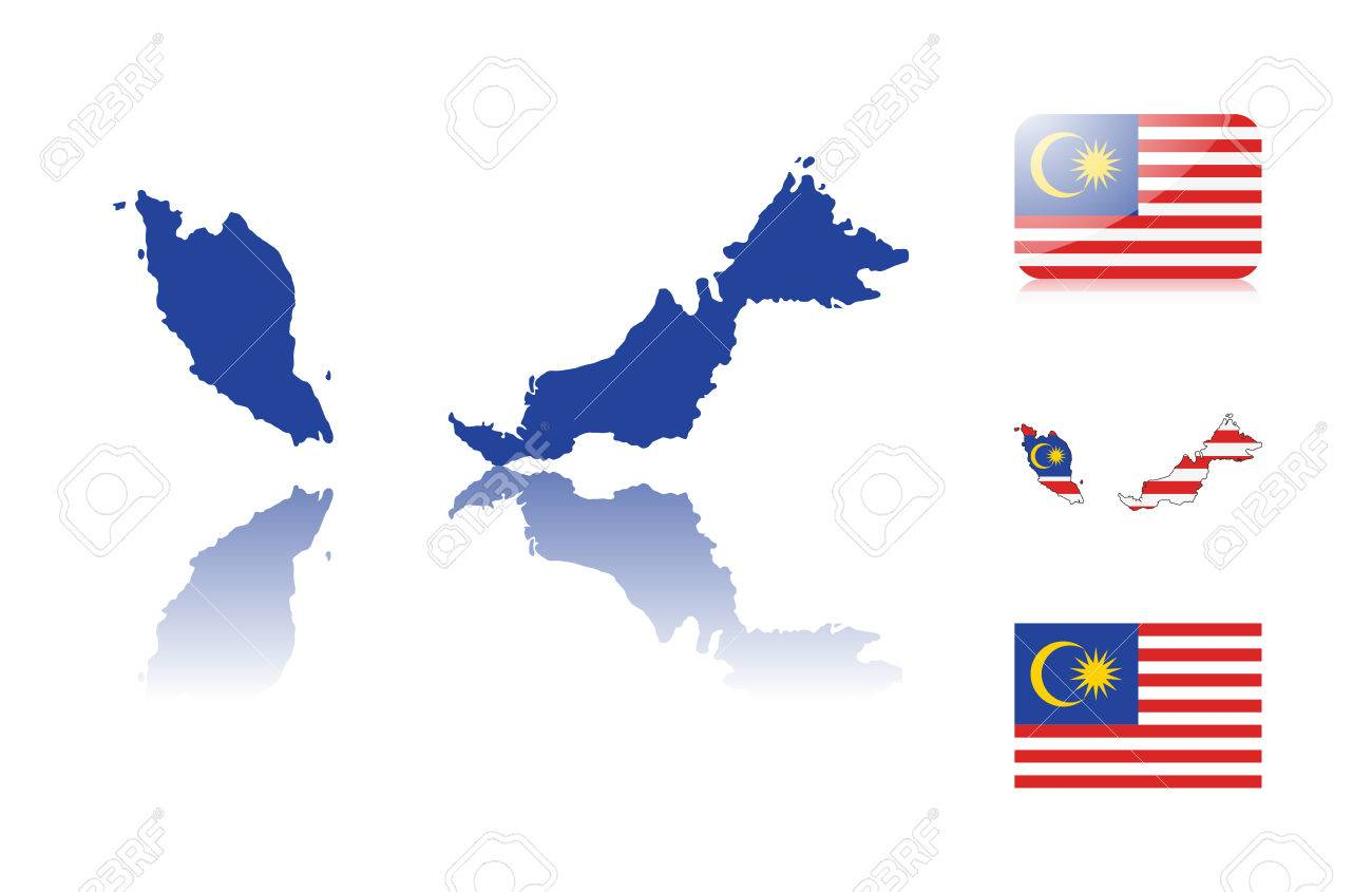 Malaysian Map Including Map With Reflection Map In Flag Colors