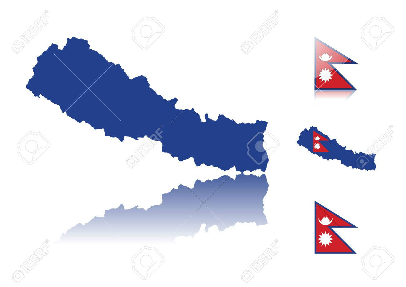 Nepal Map Including: Map With Reflection, Map In Flag Colors ...