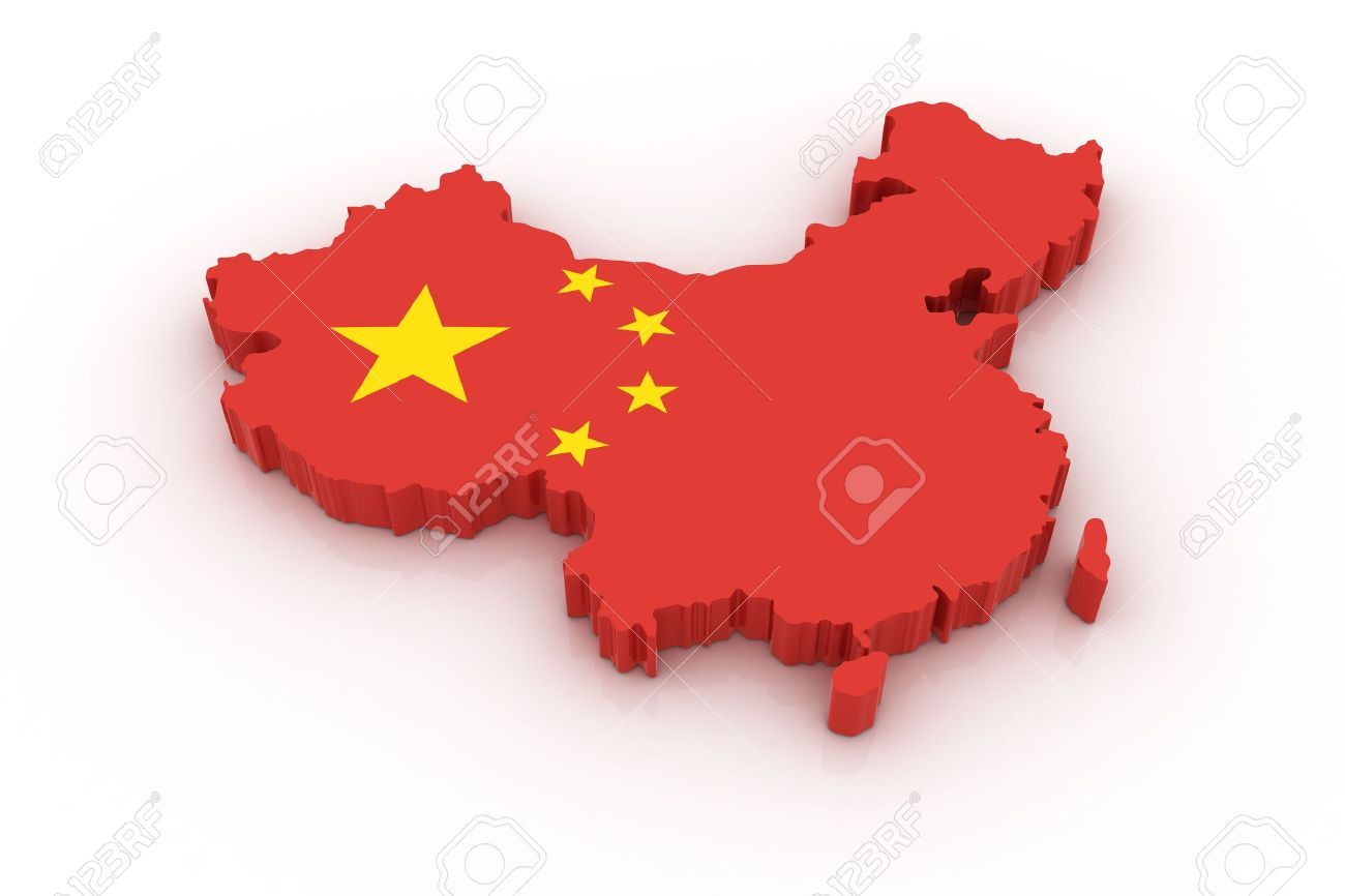 Three dimensional map of China in Chinese flag colors. Stock Photo - 6421287