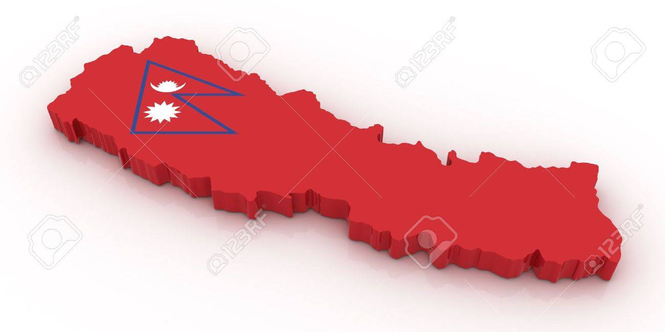 Three Dimensional Map Of Nepal In Nepal Flag Colors Stock Photo - Nepal map