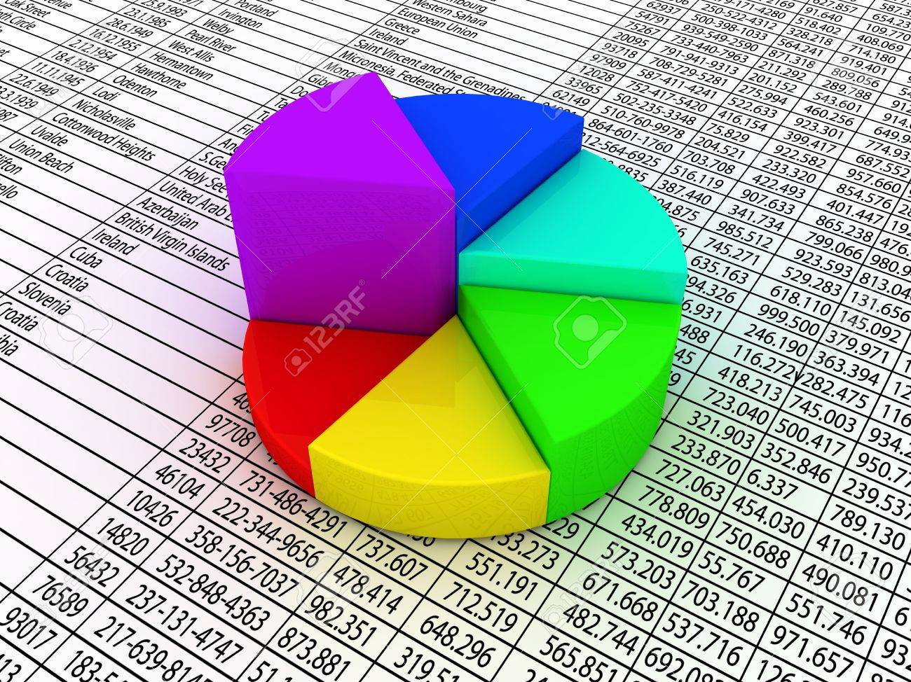 A colorful pie chart on financial figures paper. Stock Photo - 6482949