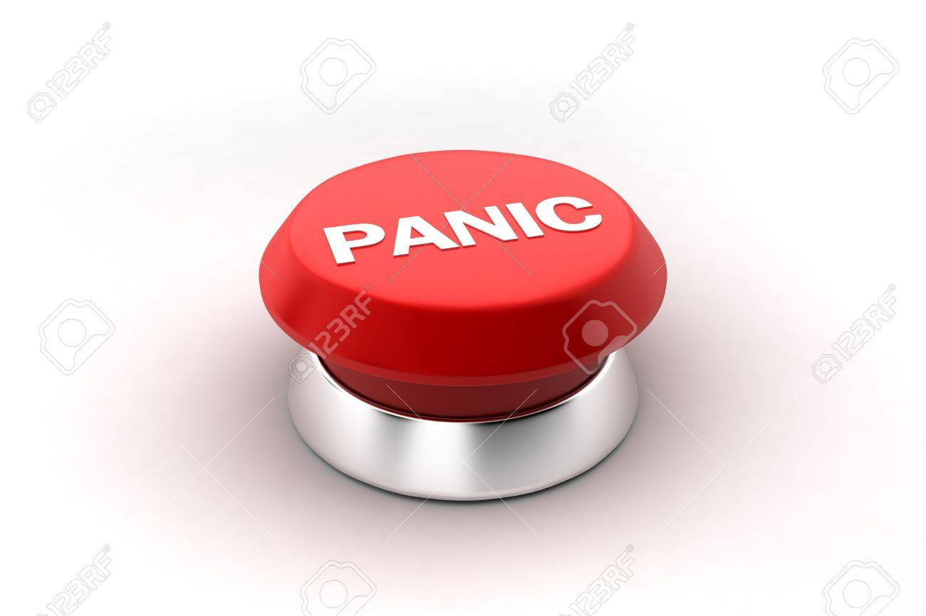 A 3d render of a red panic button. Stock Photo - 6599472