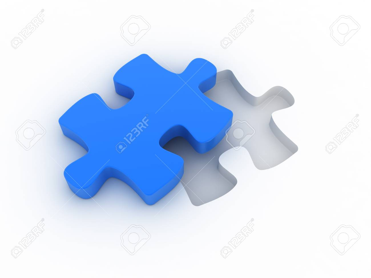 A blue puzzle is cut out of a white plane. Concept image for strategy, inspiration, organization,... Stock Photo - 6622101