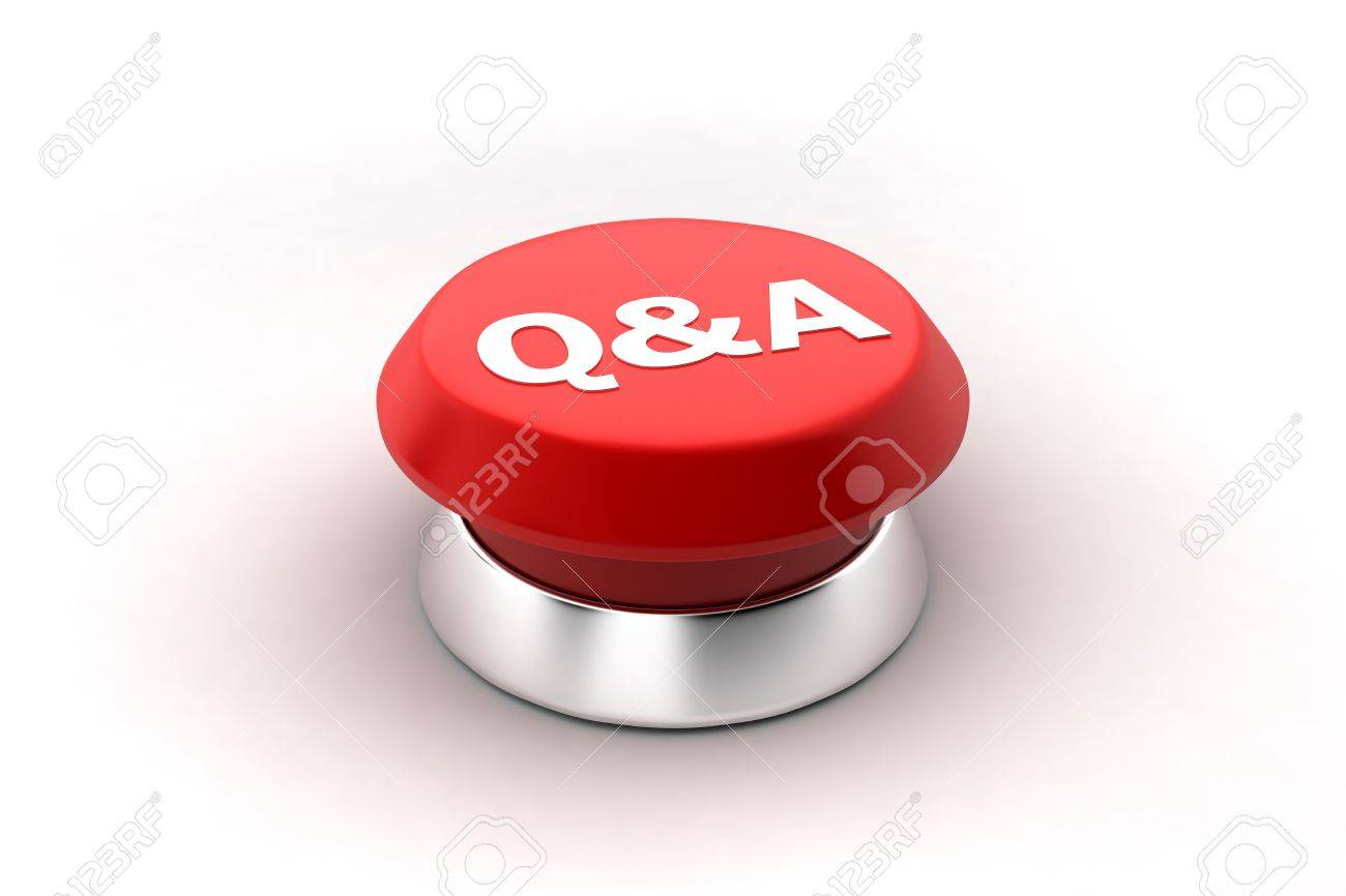 A 3d render of a red Questions and Answers button. Stock Photo - 6622107