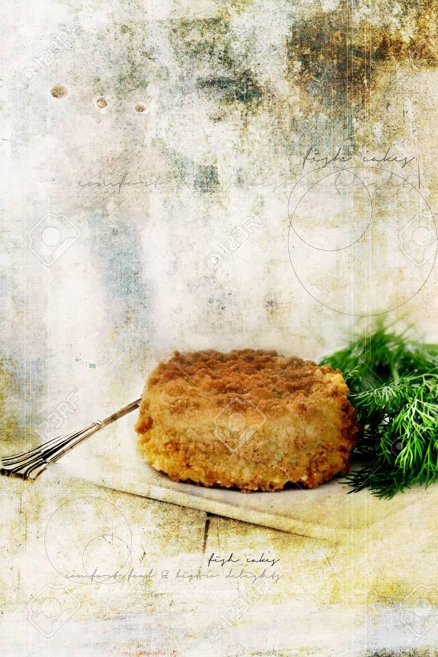 Grunge-Effekt Retro Graffiti Bild Von Kabeljau Fisch Kuchen Ideal ...