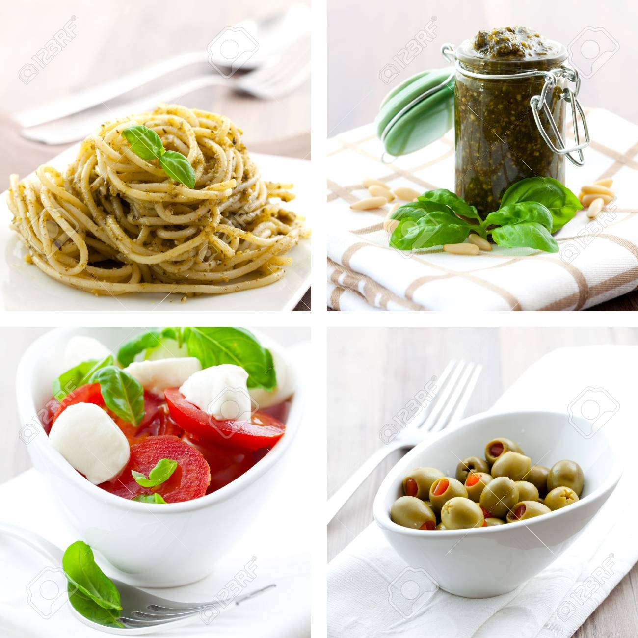 collage of four pictures of italien food - 7921779