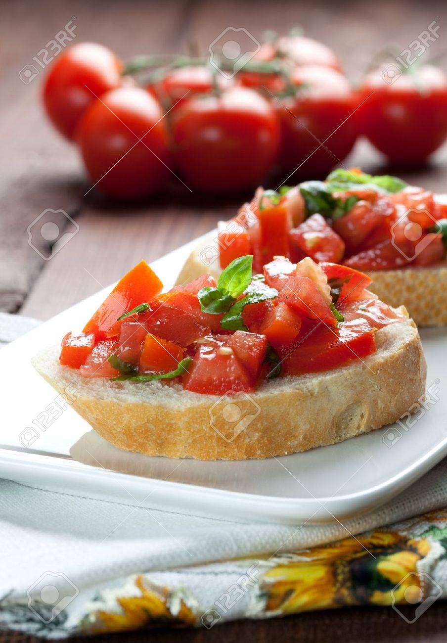 fresh bruschetta with tomato on plate Stock Photo - 8467372