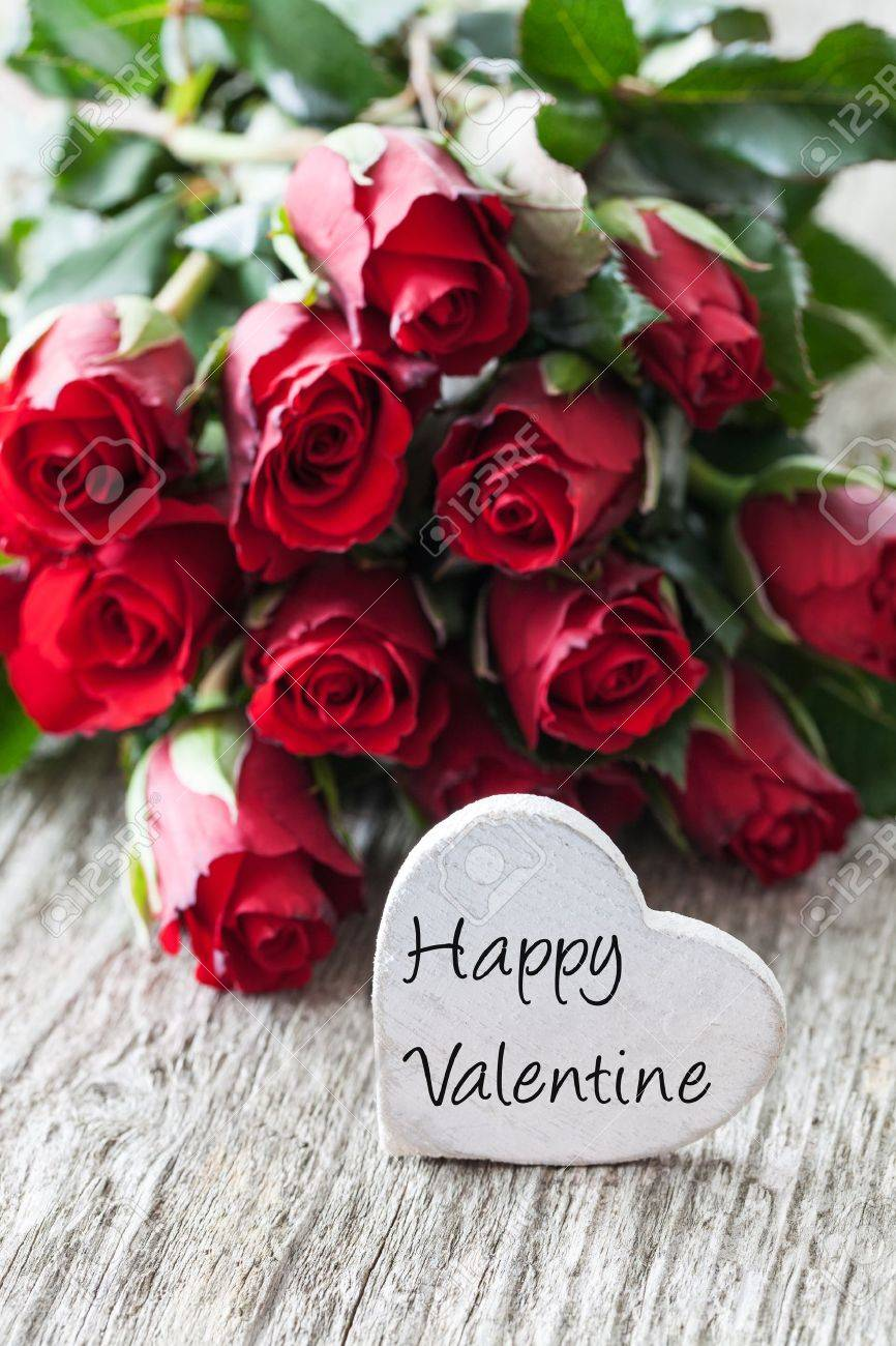 happy valentine with roses and heart stock photo, picture and, Natural flower