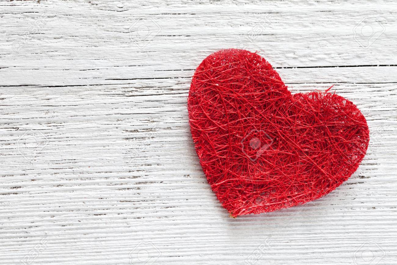 red heart on wooden background with copy space Stock Photo - 15101460
