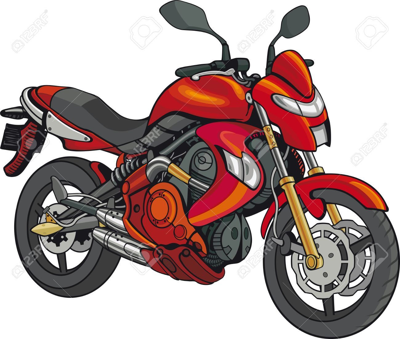 Super Motorbike Isolated Red Motorbike On White Background Stock Vector    44243497