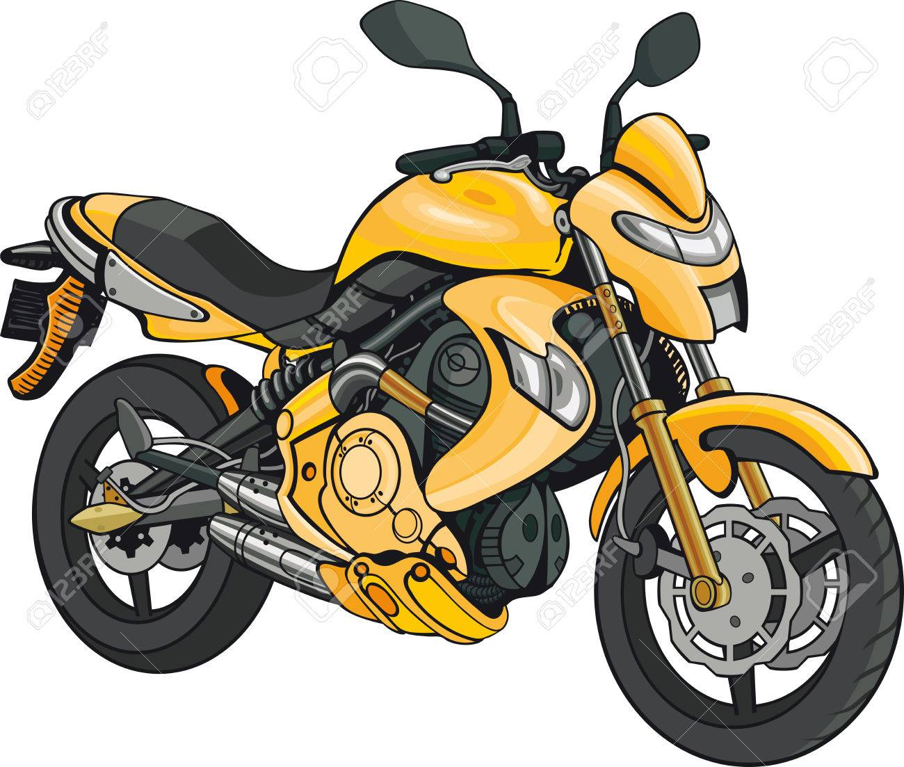 Super Motorbike Isolated Yellow Motorbike On White Background Stock Vector    44566748