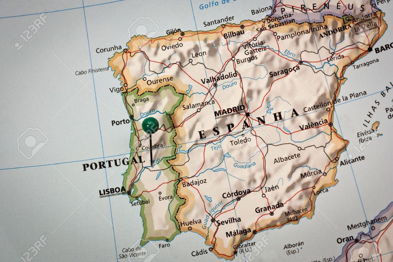 Closeup Of A Mark On Impressed Map Of Iberian Peninsula Stock Photo ...