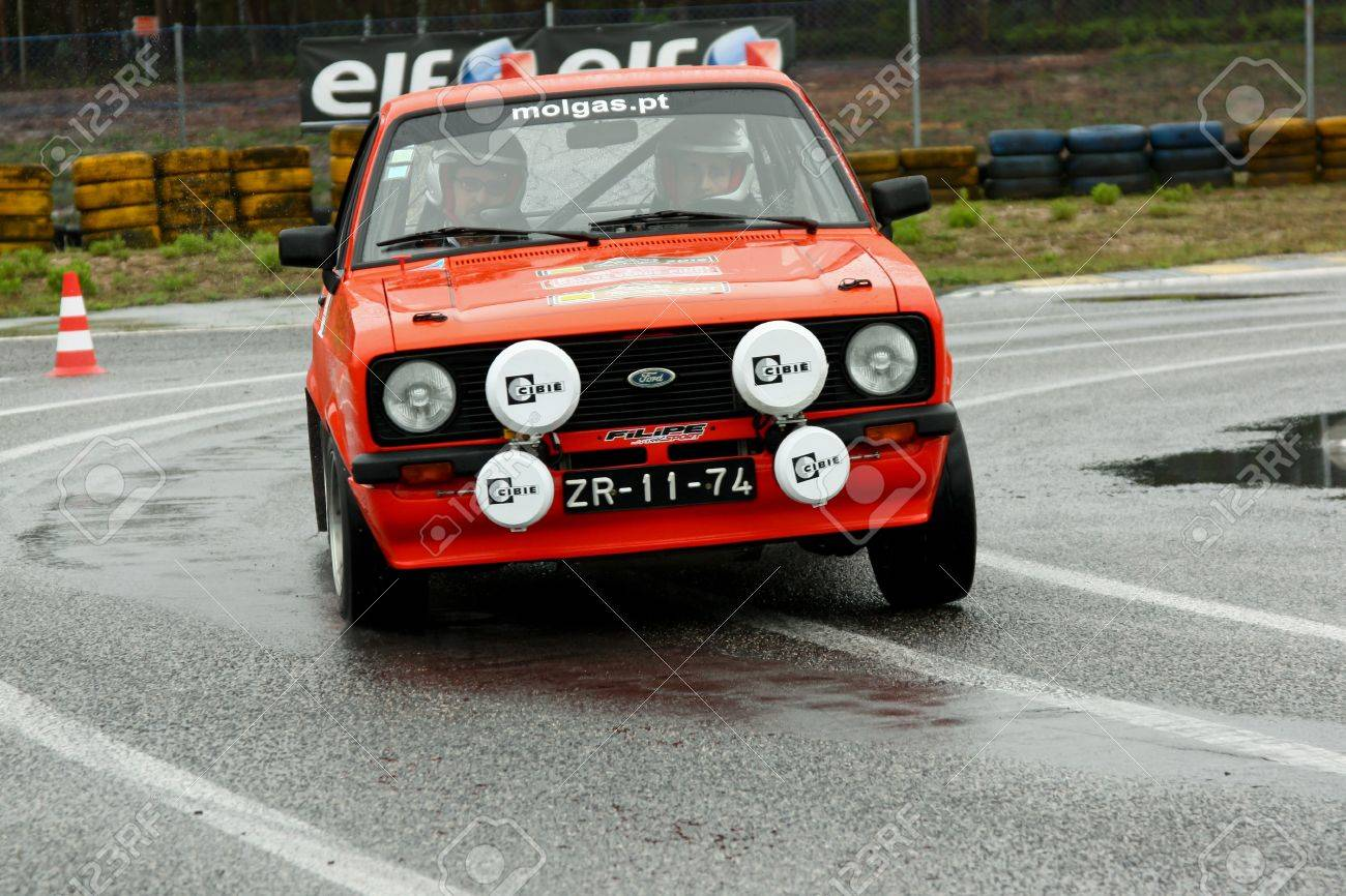 LEIRIA, PORTUGAL - APRIL 20: Goncalo Figueiroa drives a Ford Escort MkII during Day One of Rally Verde Pino 2012, in Leiria,  Portugal on April 20, 2012.  Stock Photo - 13455622