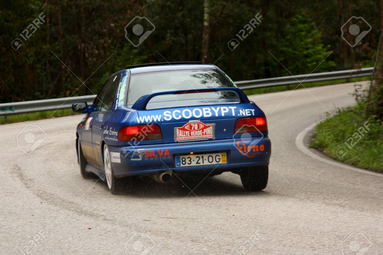 LEIRIA, PORTUGAL - APRIL 20: Joao Jose Mendes drives a Subaru Imprenza during Day One of Rally Verde Pino 2012, in Leiria,  Portugal on April 20, 2012. Stock Photo - 13455604