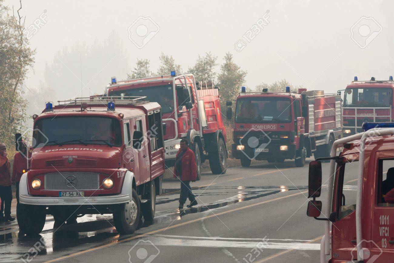 Pombal portugal july 15 fire trucks on a road to prevent that wildfire