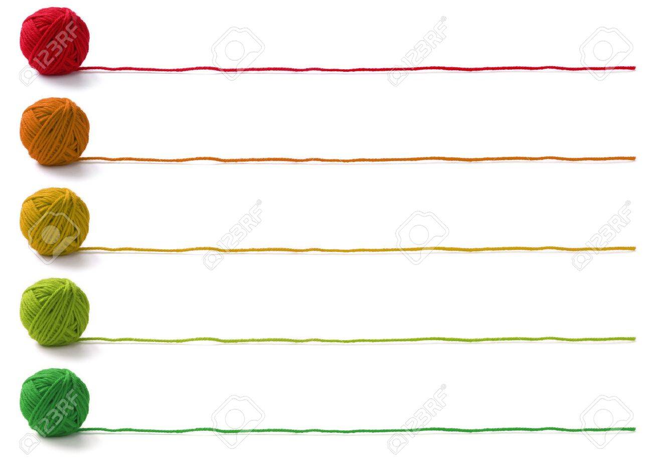 five colors of yarn balls , knitting banner design on white background - 10328632