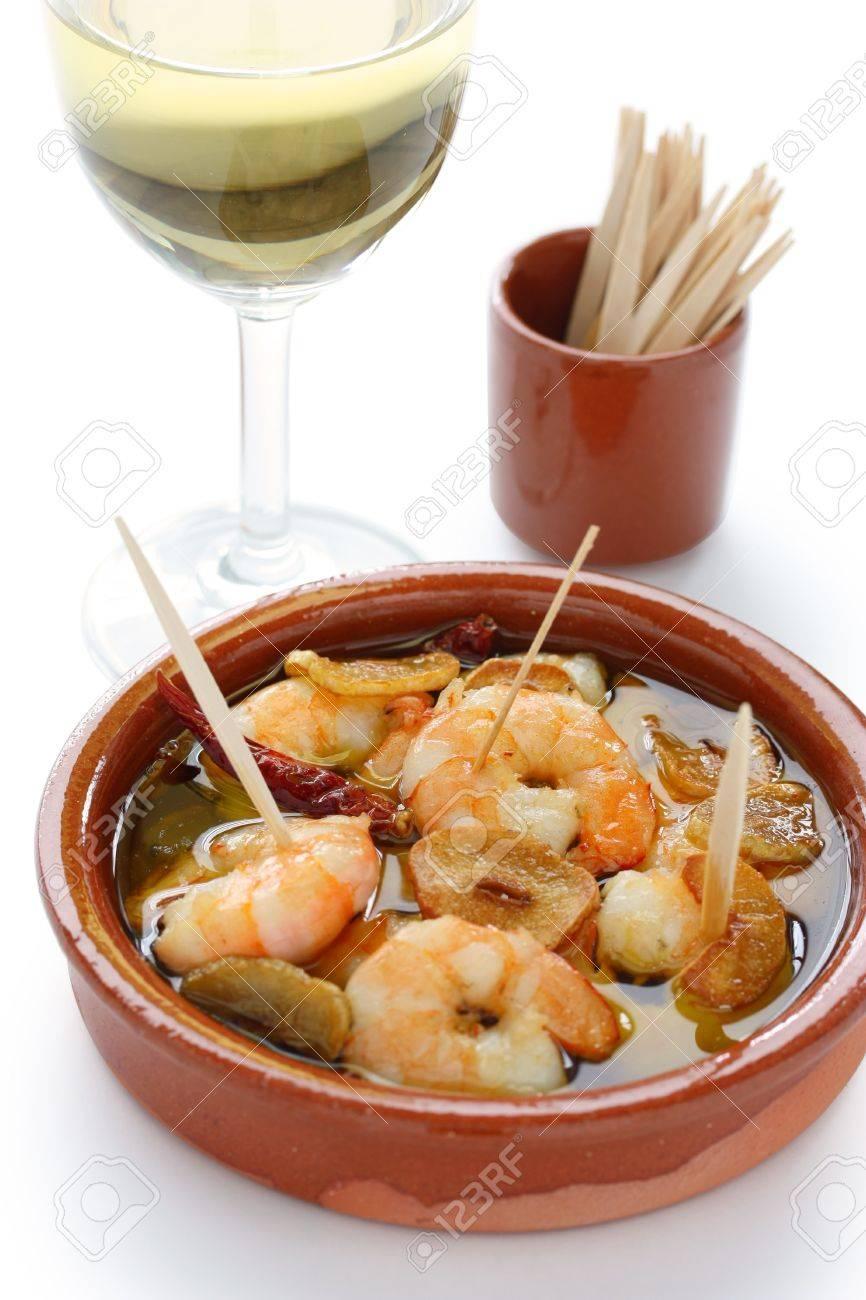 gambas al ajillo , garlic prawns , spanish tapas Stock Photo - 10597082
