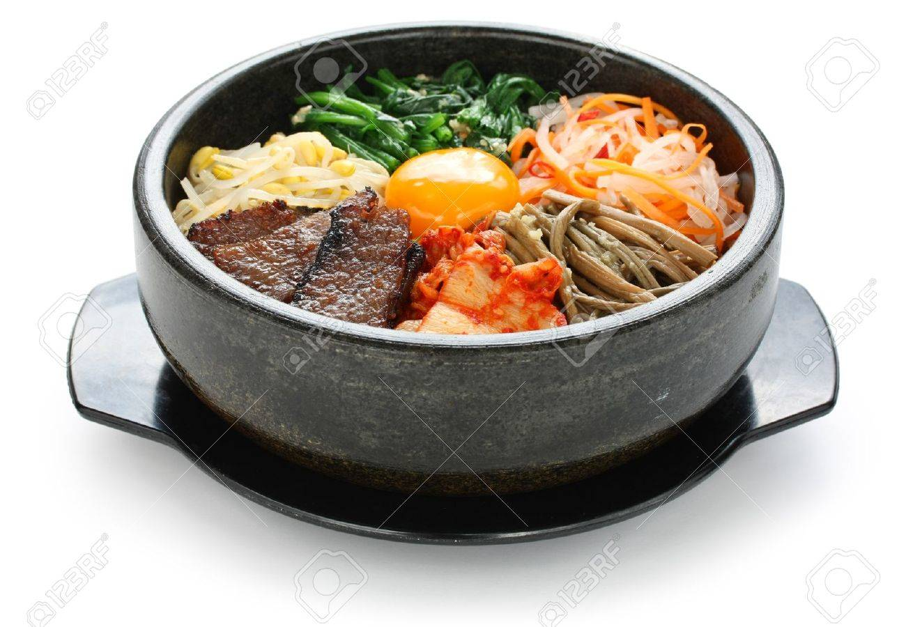 bibimbap in a heated stone bowl, korean dish Stock Photo - 11755596