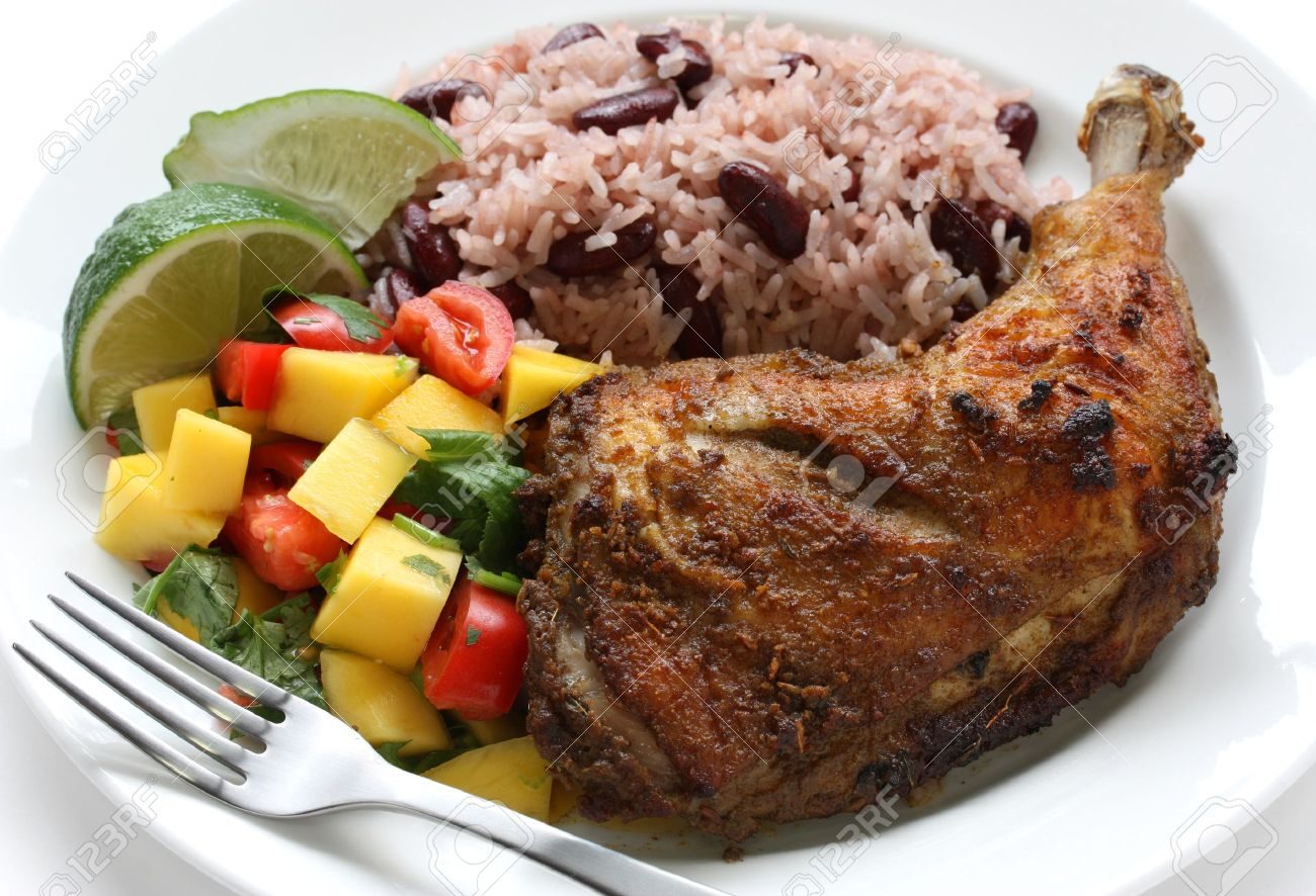 Jerk chicken plate jamaican food stock photo picture and royalty jerk chicken plate jamaican food stock photo 14203654 forumfinder Image collections