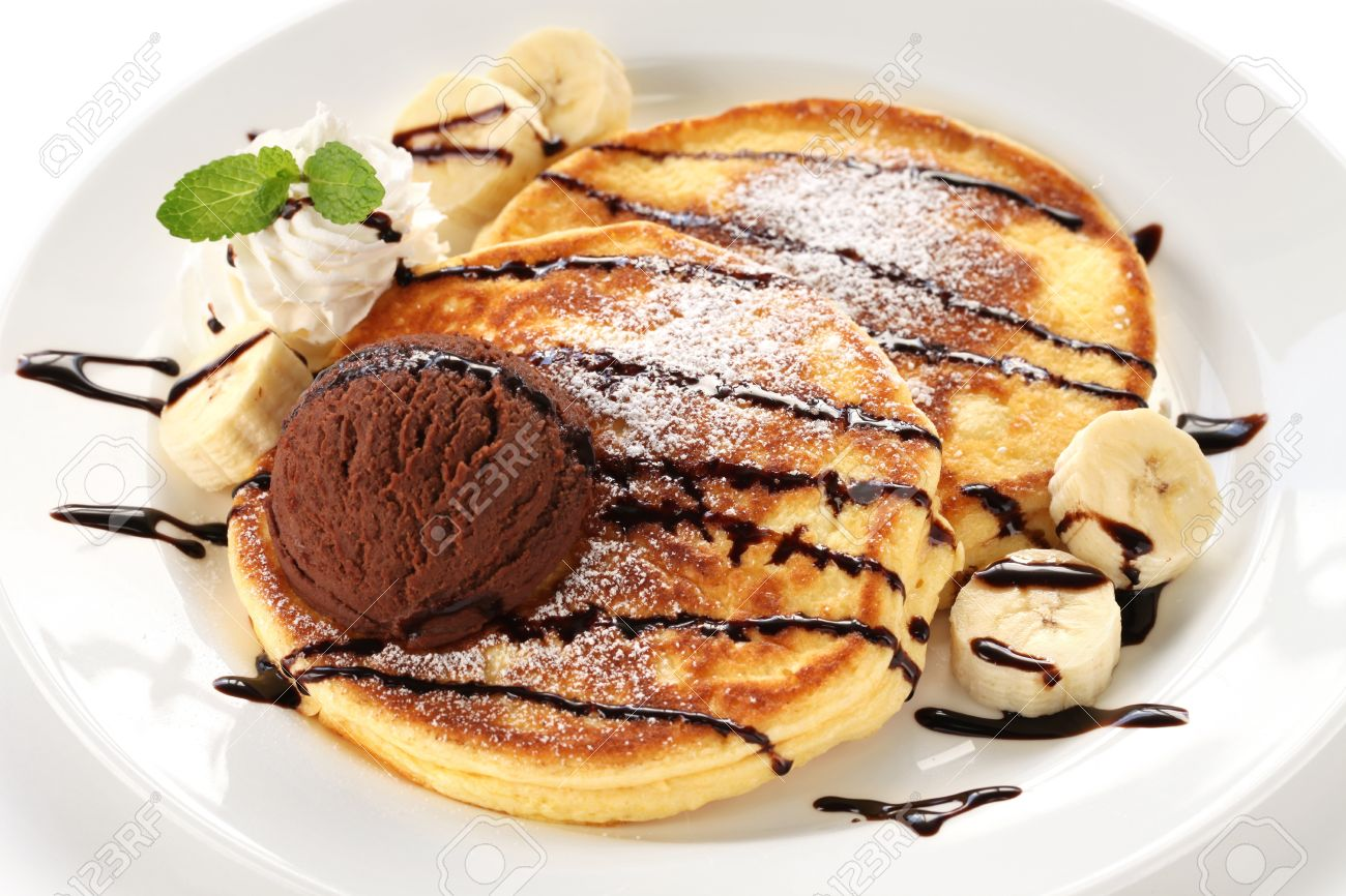 Pancakes With Ice Cream And Chocolate Sauce Stock Photo Picture And Royalty Free Image Image 17700035