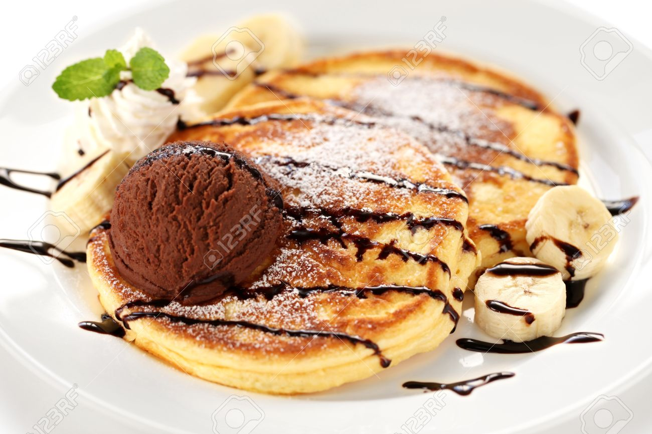 Pancakes With Ice Cream And Chocolate Sauce Stock Photo Picture And Royalty Free Image Image 17700033