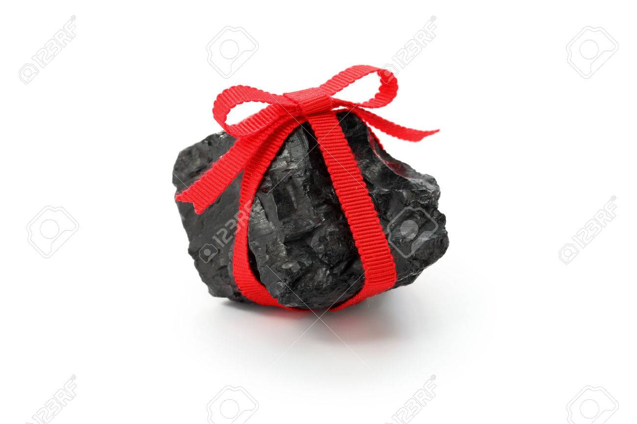 Coal Lump With Red Ribbon, Christmas Present For Bad Boys And ...
