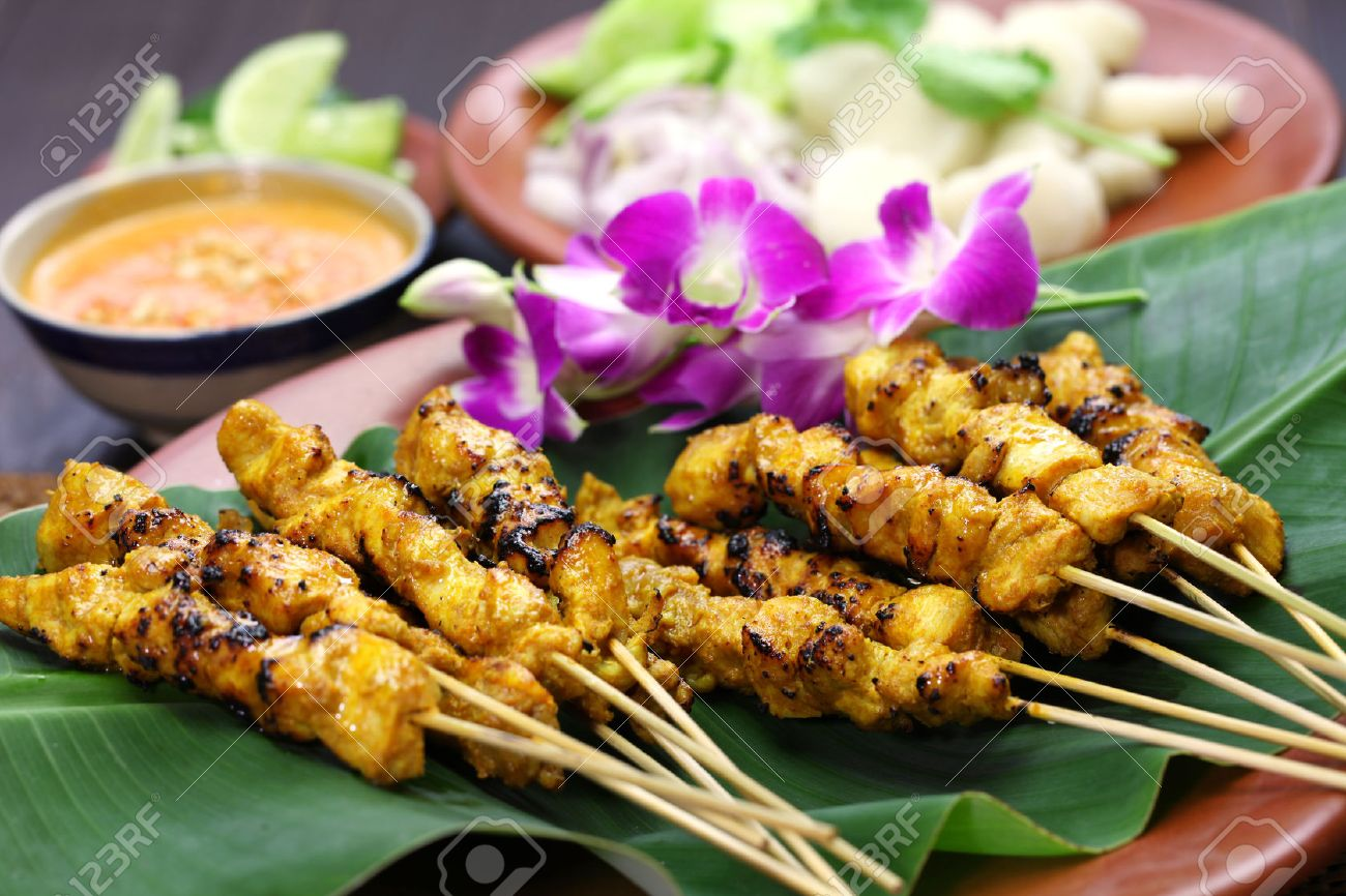 Stock Photo Chicken Satay Sate Ayam And Lontong With Peanut Sauce Indonesian Skewer Cuisine