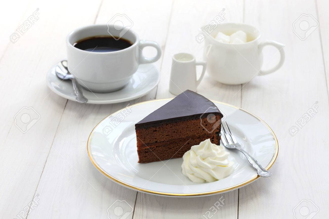homemade sachertorte Austrian chocolate cake and coffee Stock Photo - 41799933