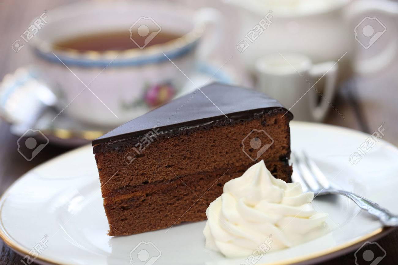 homemade sachertorte Austrian chocolate cake and tea Stock Photo - 41799937